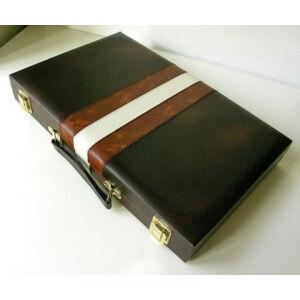 Backgammon - barna műbőr koffer (46x30cm) - 604170 - Egyszerbolt Társasjáték Webáruház
