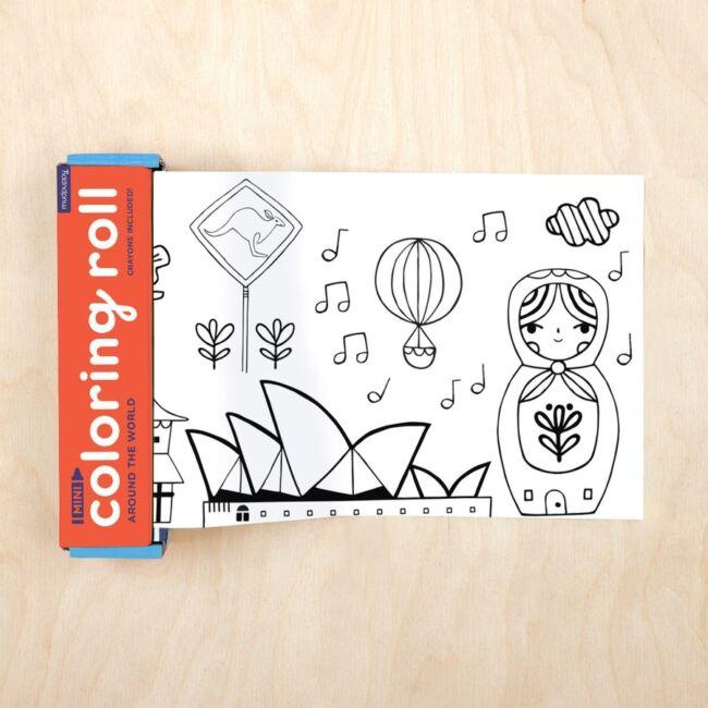Színezőtekercs 4 db szines ceruzával - A világ körül -Egyszerbolt Társasjáték