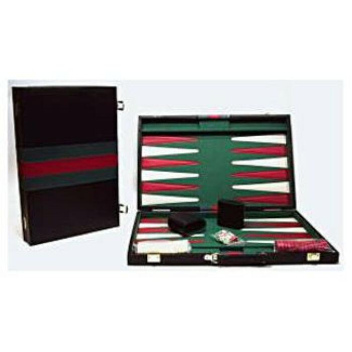 Backgammon, 38x25 cm-es, fekete műbőr - 605502 - Egyszerbolt Társasjáték Webáruház