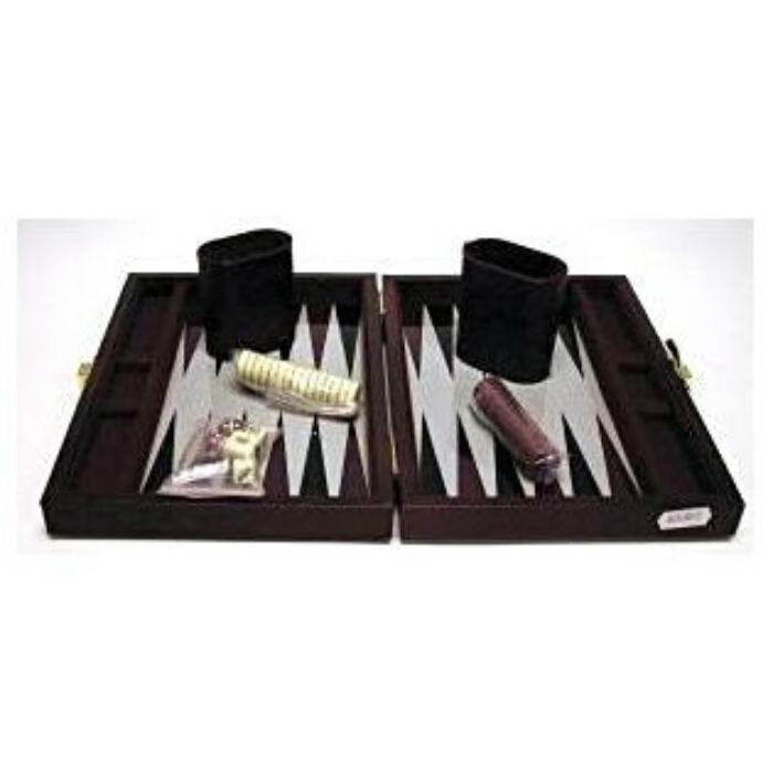 Backgammon 23x17 cm, barna műbőr - 604067 - Egyszerbolt Társasjáték Webáruház