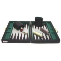 Backgammon, 23x17 cm fekete műbőr - 604066 - Egyszerbolt Társasjáték Webáruház