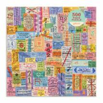Vintage Travel Tickets 500 db-os puzzle, Galison