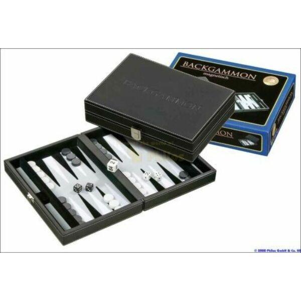 601712 Backgammon - fekete műbőr 23cm - Egyszerbolt Társasjáték Webáruház