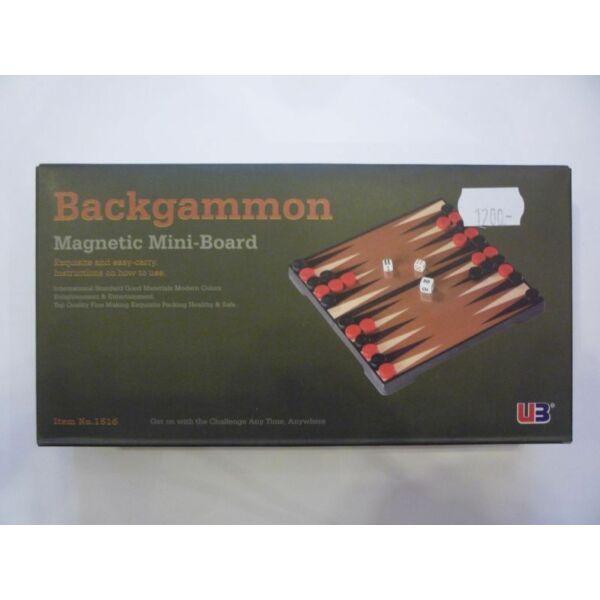 Összehajth. mágn. backgammon, műanyag, 16,5x16,5x2,5cm - 1516 - Egyszerbolt Társasjáték Webáruház