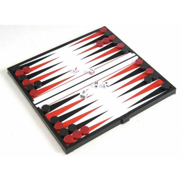 Összehajth. mágn. backgammon, műanyag, 20x20x1cm - 1770 - Egyszerbolt Társasjáték Webáruház