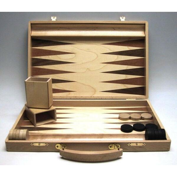Backgammon fa kivitelben, fogantyúval, intarziás, 35x23 cm-es - 601117 - Egyszerbolt Társasjáték Webáruház