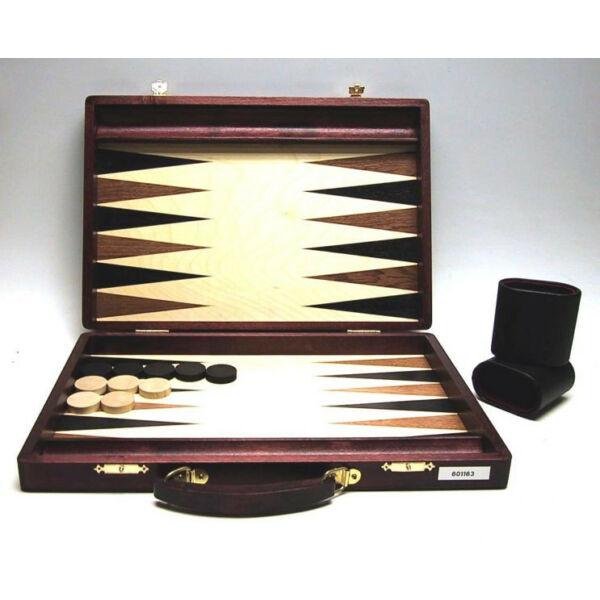 Backgammon sötétbarna fa fogantyúval, intarziás, 38x26 cm-es - 601163  - Egyszerbolt Társasjáték Webáruház