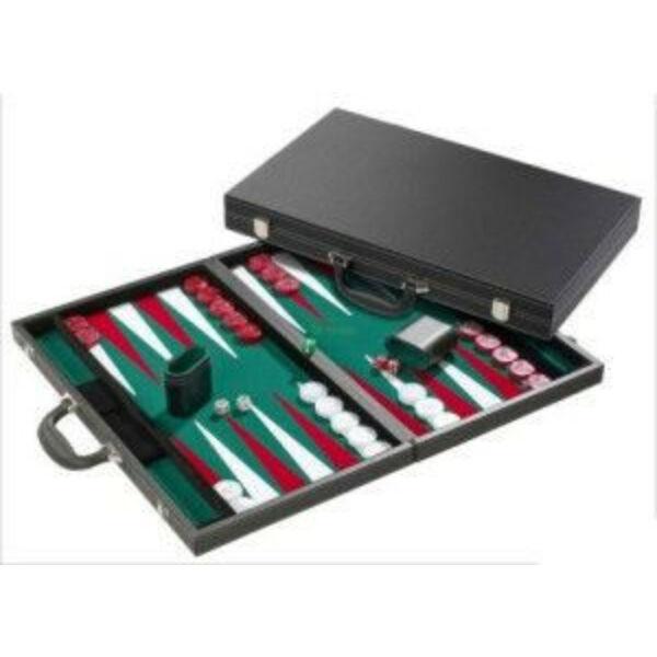 Backgammon-fekete koffer(38cm)-605512 - Egyszerbolt Társasjáték Webáruház