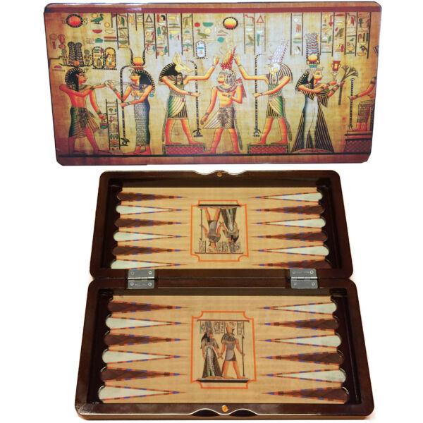 Backgammon, 48cm-es Egyiptomos fadobozban - 601148 - Egyszerbolt Társasjáték Webáruház