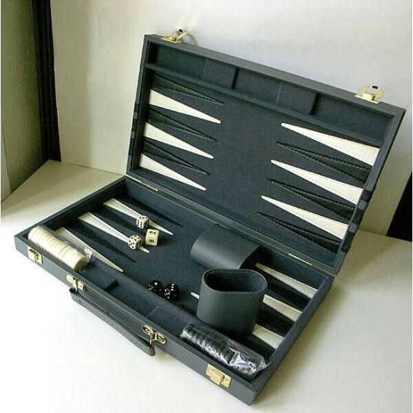 Backgammon - szürke műbőr koffer (38cm) - 604165 - Egyszerbolt Társasjáték Webáruház
