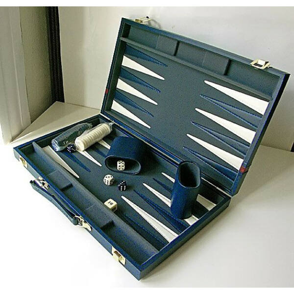 Backgammon - kék mübör koffer (38cm) - 604162 - Egyszerbolt Társasjáték Webáruház