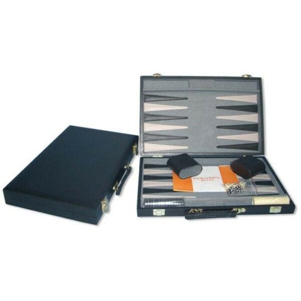 Backgammon - fekete műbőr koffer (38cm) - 604164 - Egyszerbolt Társasjáték Webáruház
