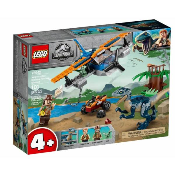 LEGO Jurassic World - Velociraptor: Kétfedelű repülőgépes ment 75942