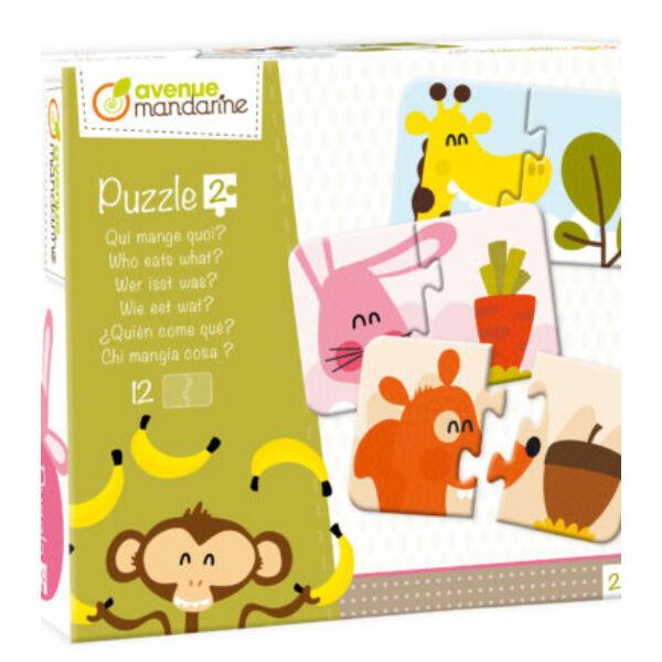 Párosító puzzle - Ki mit eszik - Avenue Mandarine - játék 2 éves kortól - Egyszerbolt Társasjáték
